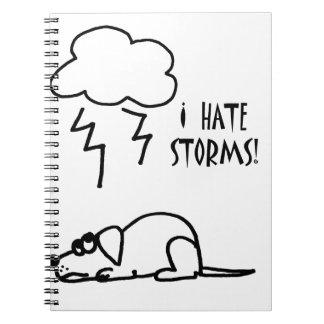 Dog Afraid of Thunder Storms Cartoon Notebook
