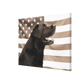 Dog and American flag Canvas Print
