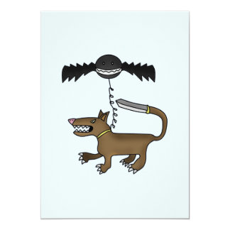 "Dog and Bat Monster 5"" X 7"" Invitation Card"