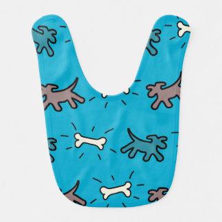 Dog and Bone Graffiti Style Blue Baby Bib 3