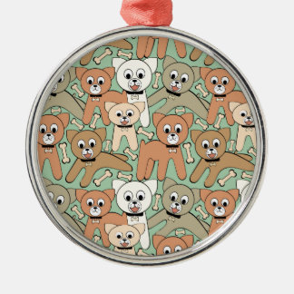 Dog and bone metal ornament
