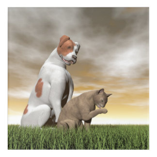 Dog and cat friendship - 3D render Acrylic Print
