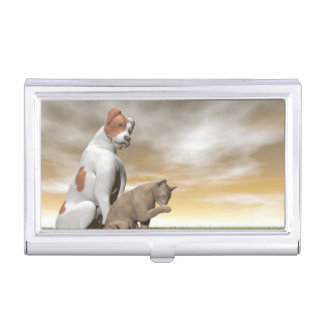 Dog and cat friendship - 3D render Business Card Holder