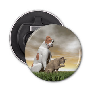 Dog and cat friendship - 3D render Button Bottle Opener