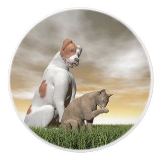 Dog and cat friendship - 3D render Ceramic Knob