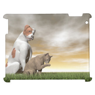 Dog and cat friendship - 3D render Cover For The iPad 2 3 4