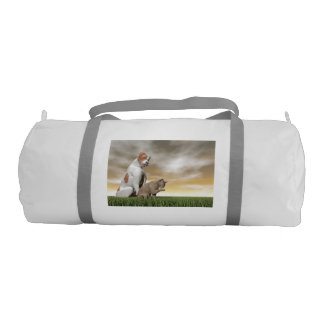 Dog and cat friendship - 3D render Gym Bag