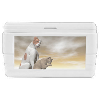 Dog and cat friendship - 3D render Ice Chest
