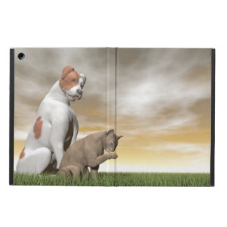 Dog and cat friendship - 3D render iPad Air Covers