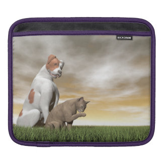 Dog and cat friendship - 3D render iPad Sleeve