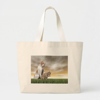 Dog and cat friendship - 3D render Large Tote Bag