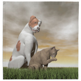 Dog and cat friendship - 3D render Napkin