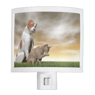 Dog and cat friendship - 3D render Nite Light