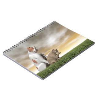 Dog and cat friendship - 3D render Notebooks