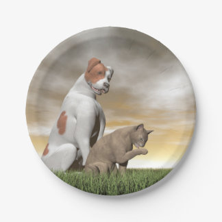 Dog and cat friendship - 3D render Paper Plate