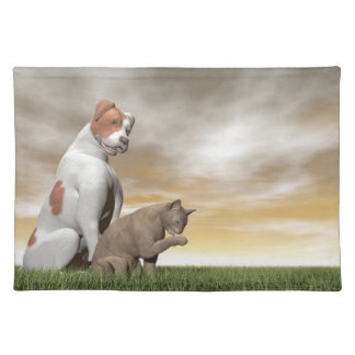 Dog and cat friendship - 3D render Placemat