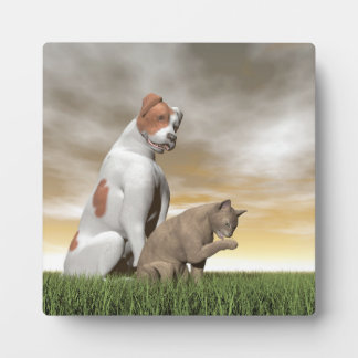 Dog and cat friendship - 3D render Plaque