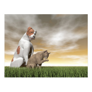 Dog and cat friendship - 3D render Postcard