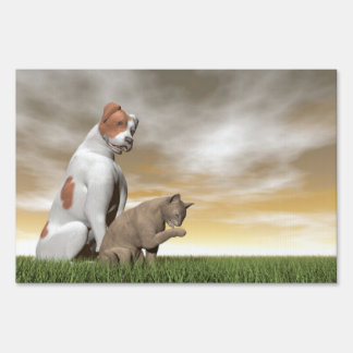 Dog and cat friendship - 3D render Sign