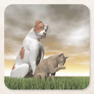 Dog and cat friendship - 3D render Square Paper Coaster
