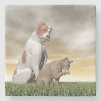 Dog and cat friendship - 3D render Stone Beverage Coaster
