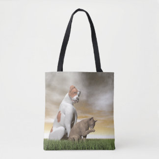 Dog and cat friendship - 3D render Tote Bag