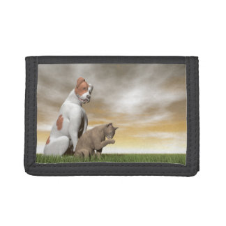Dog and cat friendship - 3D render Trifold Wallet