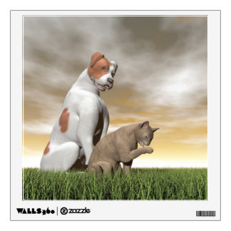 Dog and cat friendship - 3D render Wall Sticker