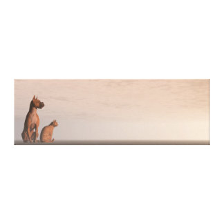 Dog and cat friendship canvas print