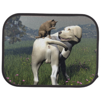 Dog and cat friendship car mat