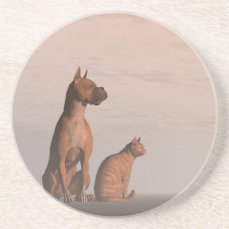 Dog and cat friendship coaster