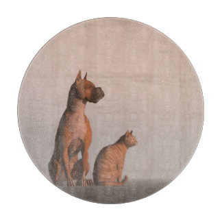 Dog and cat friendship cutting board