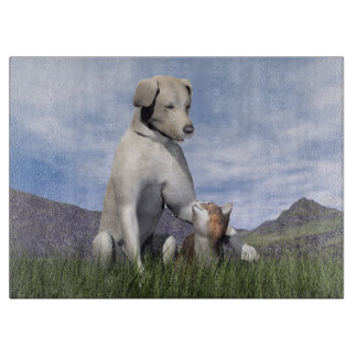 Dog and cat friendship cutting board