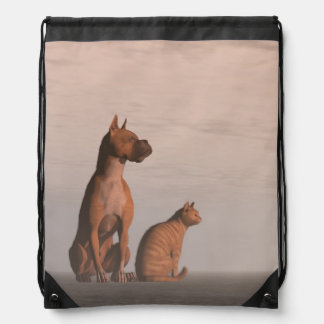 Dog and cat friendship drawstring bag