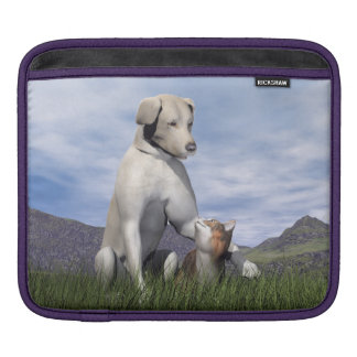 Dog and cat friendship iPad sleeve