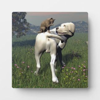 Dog and cat friendship plaque