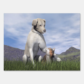 Dog and cat friendship sign