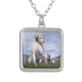 Dog and cat friendship silver plated necklace