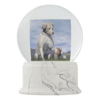 Dog and cat friendship snow globe