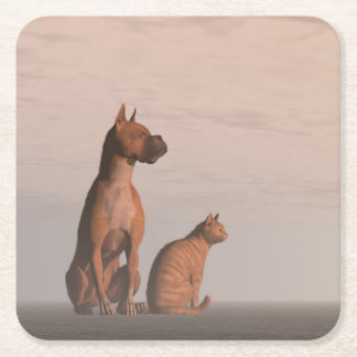Dog and cat friendship square paper coaster