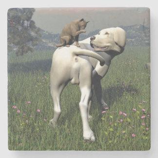 Dog and cat friendship stone coaster