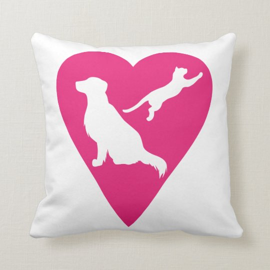 Dog and Cat Heart Throw Pillow