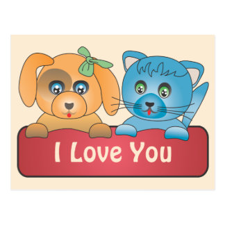 Dog and Cat - I Love You Postcard