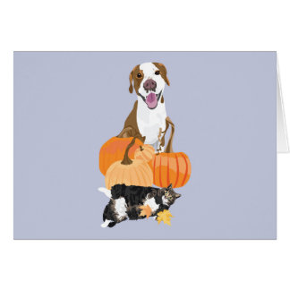 Dog and cat in autumn card
