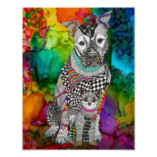 "Dog and Cat Poster -  11""x14"" (You can Customize)"