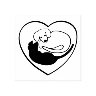 Dog and Cat / Puppy and Kitty Heart Rubber Stamp