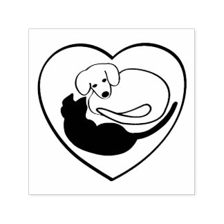 Dog and Cat / Puppy and Kitty Heart Self-inking Stamp