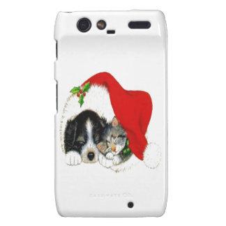 Dog and Cat Sharing Santa Hat Motorola Droid RAZR Covers