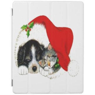Dog and Cat Sharing Santa Hat iPad Cover