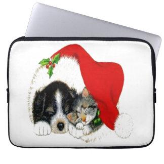 Dog and Cat Sharing Santa Hat Laptop Computer Sleeves